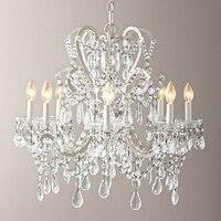 Simple Ivory White E14 Chandelier French Modern Interior Lighting Chandelier Living Room Lamp Bedroom Lamp