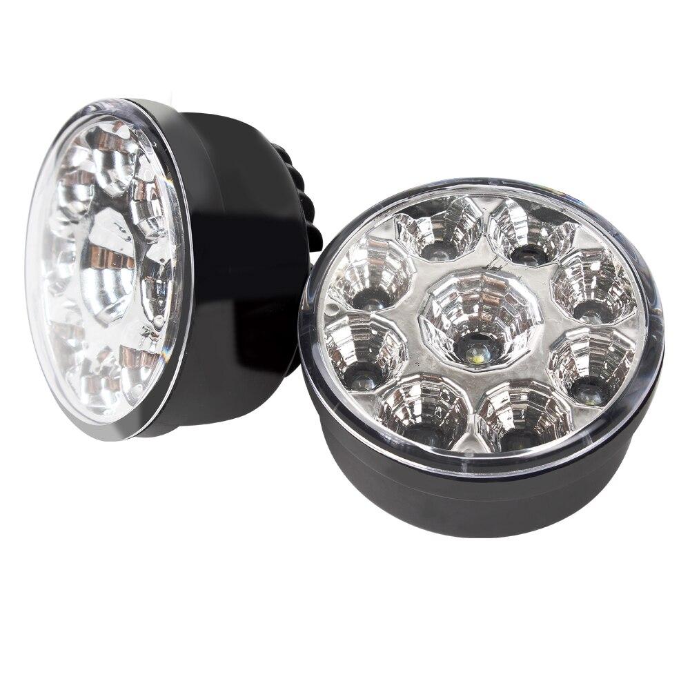 iTimo 2шт дневные ходовые огни DC 12 В автомобиля DRL 9 LED лампы круглый автомобилей Противотуманные фары