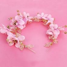 Свадьба романтический розовый крем цветок с бисером металлический лист оголовье невесты ручной работы украшения для волос свадебные аксессуары для волос