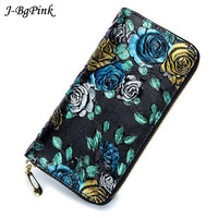 Embossing Rose Flower Women Wallet Genuine Leather Female Purse Long Printing Floral Women Retro Leather Wallet