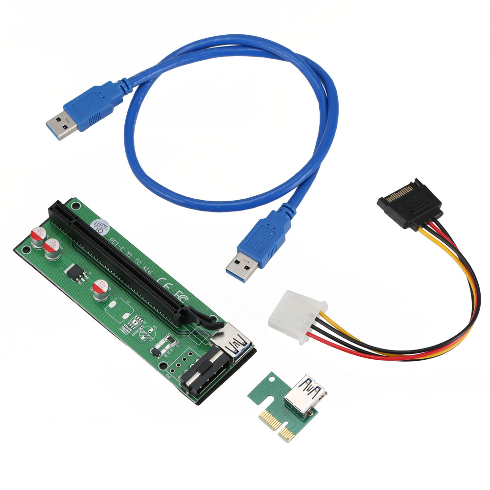 60cm PCI-Express PCI-E 1X to 16X Riser Card Adapter PCIE Extender + USB 3.0 Cable + SATA to 4Pin IDE Molex Power Cord centechia 50cm pci express pci e 1x to 16x riser card extender pcie adapter usb 3 0 cable