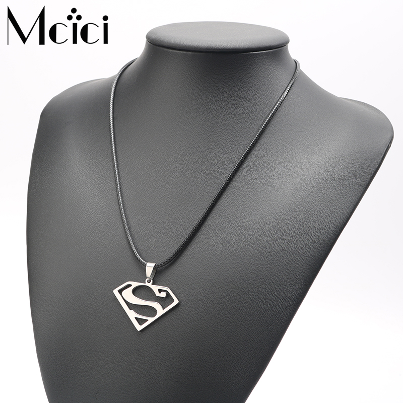 Vintage Stainless Steel Steampunk Man Letter S Necklaces Pendants for Women with Chain Maxi Overwatch Statement Necklace Gift