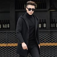 Зимняя шерстяная одежда куртка Для мужчин высокого качества Шерстяное пальто с капюшоном Повседневное Бизнес Для мужчин Тренч куртка Для м