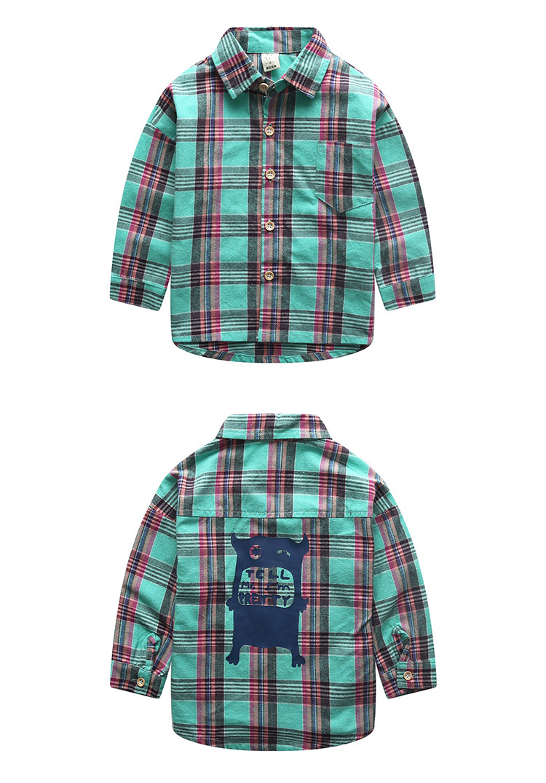 Boys shirt 2016 autumn children s clothing children boy in plaid long sleeved casual shirt for