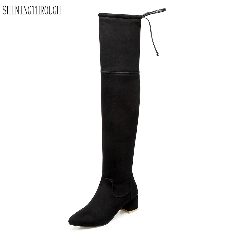 New autumn winter boots high heels boots woman over the knee high women boots sexy poined toe shoes woman ladies boots suede high heel winter shoes woman long boots high heels round toe sexy boots women over the knee high boots plush snow boots