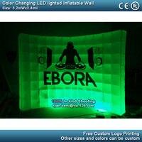 3.2mWx2.4mH светодио дный освещенные надувные стены с логотип светодио дный надувной фон для вечерние события надувные фото стенда стенд