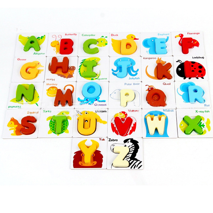 kids wooden toys children early educational intelligence animal letter puzzles cognitive alphabet toy for baby gift