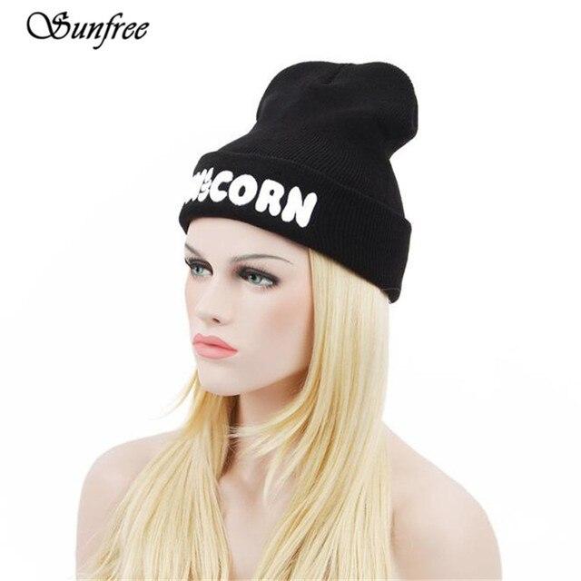 Sunfree 2019 New Fashion Cute Winter Black UNICORN Beanie Hat And Snapback  Men And Women Cap d6e0194d14