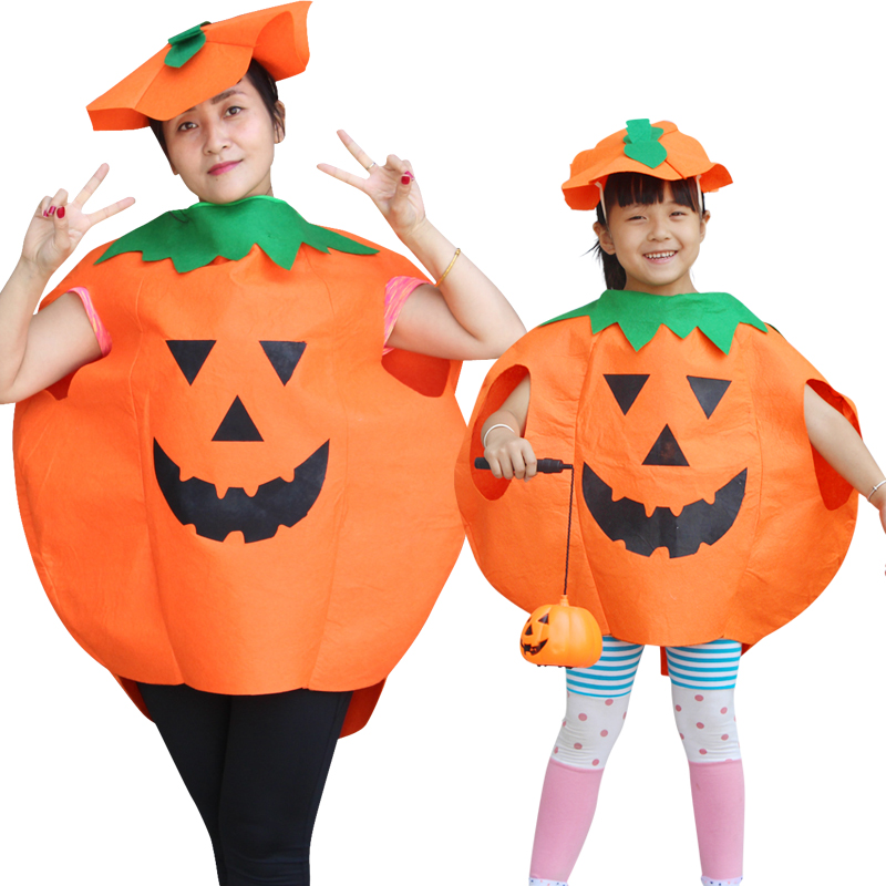 Free shipping Halloween Costumes Pumpkin Cloak Fancy Dress Party  Dress up Parenting equipment Adults or Kids Cosplay Outfit