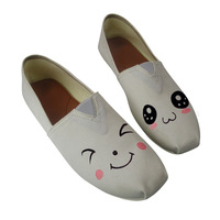 Kawaii Emotion Printed Loafers New White Summer Foot Wrapping Footwear Women Canvas Shoes Slip On Flats Plus Size 35 43