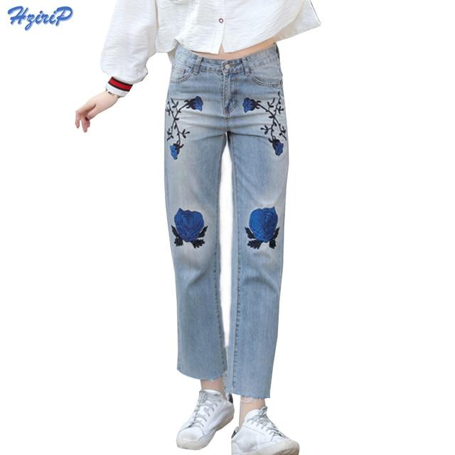 Ropa americana 2017 Primavera Nuevas Mujeres Jeans Con Bordados Pantalones Rectos Pantalones Vaqueros de Cintura Alta Pantalones de Mezclilla de Moda de Verano Femme