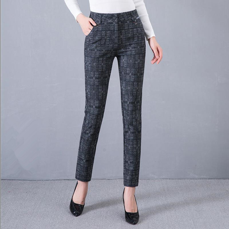 2019 Women Plaid Pants Full Length High Waist Spring/Autumn Streetwear Fitness Trousers With Pocket Plus Size 3XL 4XL 5XL 6XL