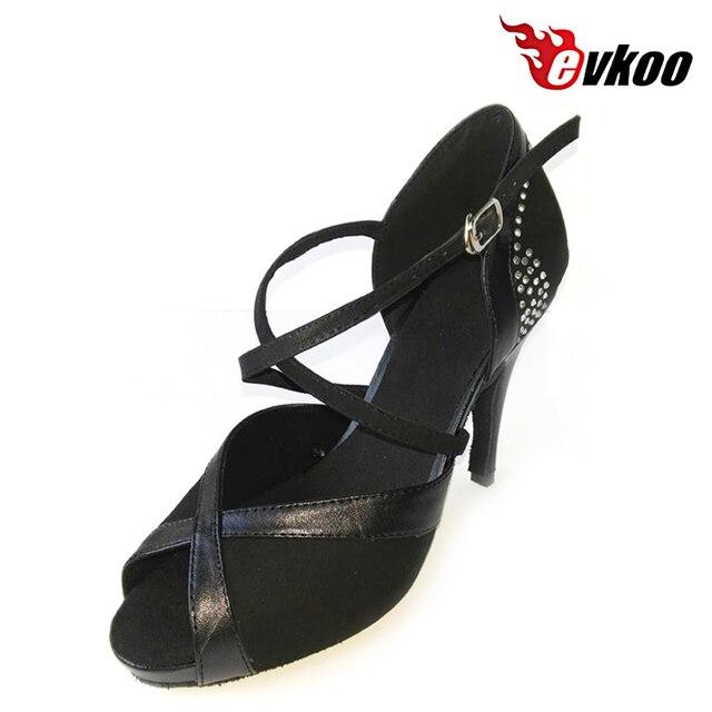 dce9ae14158cf Evkoodance Haute Talon Salsa Femmes Chaussures De Danse En Satin PU Avec  Diamant 10 cm Talon