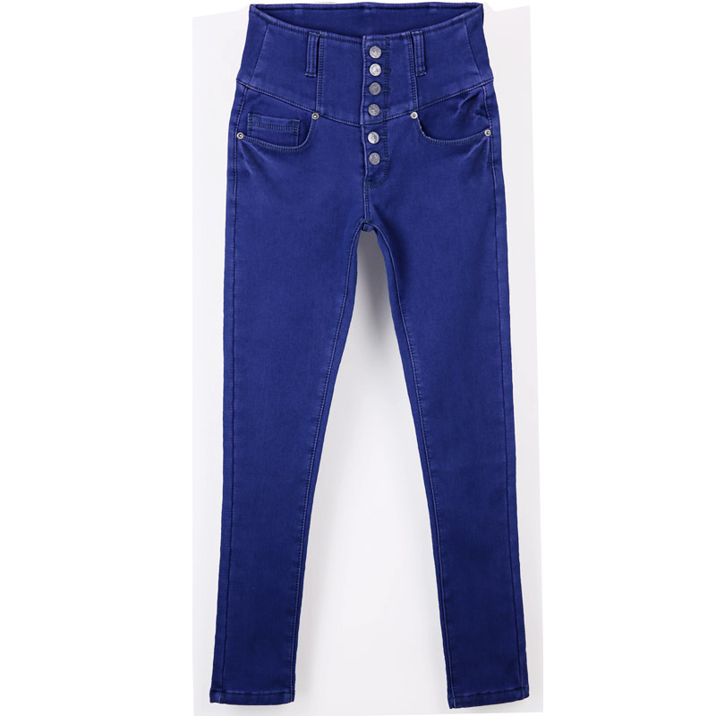 New High Waist Autumn Winter Cashmere Trousers Denim Blue Female Slim Pencil Jeans  AD9840 blue sky cashmere blue sky cashmere кашемировый кардиган с шелком 160842