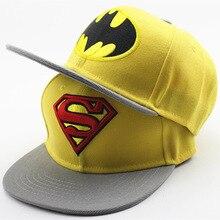 Nuevos niños bebé fresco Superman de dibujos animados Batman SnapBack plana  ajustable a lo largo de la gorra de béisbol hip hop . ccd6ff7d77c
