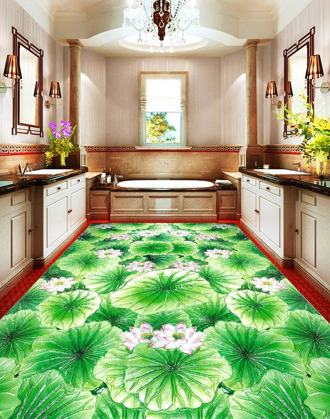 Chinese 3d flooring for bathroom Lotus pond glass tiles 3d floor painting photo wallpaper 3d pvc flooring waterproof bathroom 3d flooring mural wallpaper lotus lotus leaf pond flowers 3d floor painting waterproof pvc self adhesive wallpaper