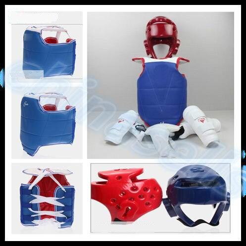 1 set 6 pcs De Boxe Taekwondo Thai équipement de protection kit chestguard Jockstrap tête casque coude garde jambe garde poitrine shin protecteur