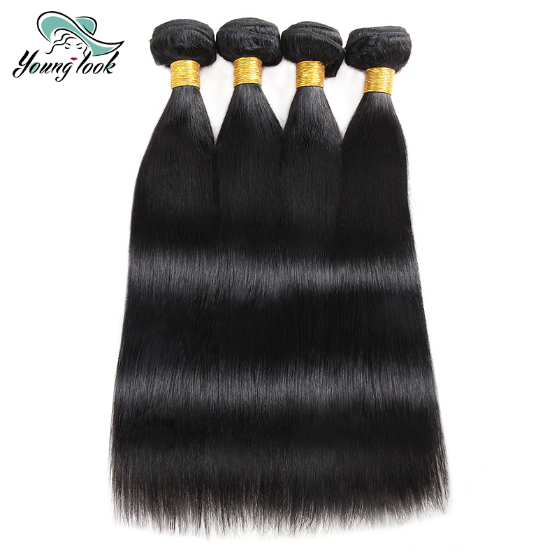Young Look Peruvian Straight Hair Weave Bundles 3/4 Pieces Human Hair Extensions 8-26 In ...