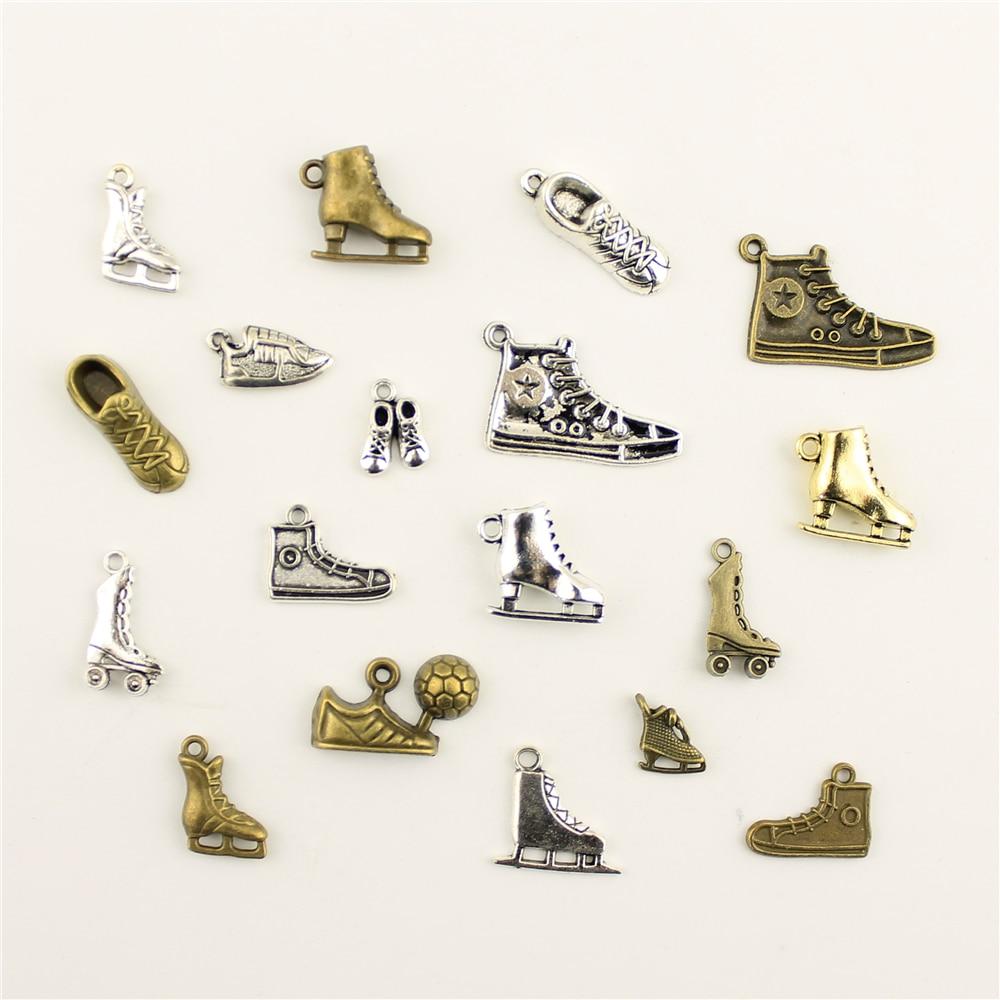 10 pçs moda jóias fazendo tênis patins jóias achados componentes pingente charme