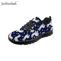 Jackherelook Women Vulcanized Shoes Cute Llama Alpaca Sneakers Fashion Breathable Mesh Casual Shoes Gym Trainers Tenis Feminino