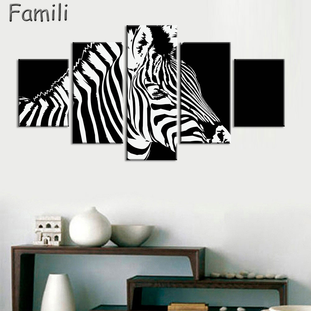 5Panel Realist Zebra Wall Painting On Canvas Paintings Wall Pictures Horse Animals Spray Painting Living Room Craft Home Decor