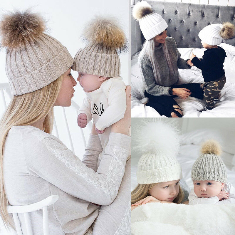 Women Baby Warm Winter Knit Wool Hat Solid Color Kids Mom Casual Hairball Fur Pompom Beanie Ski Hats