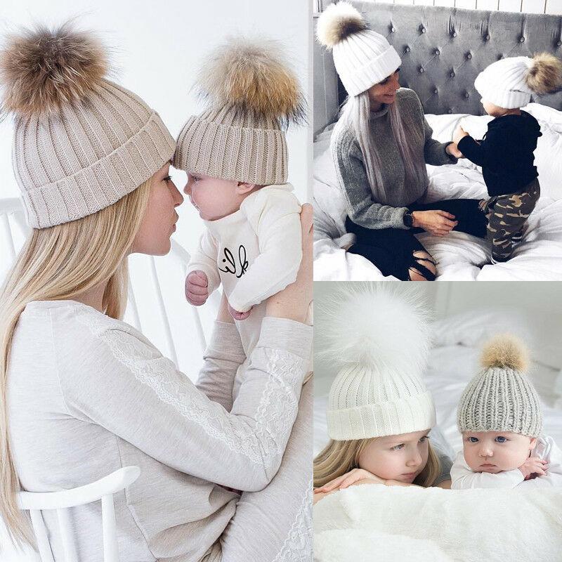 femmes-bebe-chaud-hiver-tricot-laine-chapeau-couleur-unie-enfants-maman-decontracte-poils-fourrure-pompon-bonnet-chapeaux-de-ski