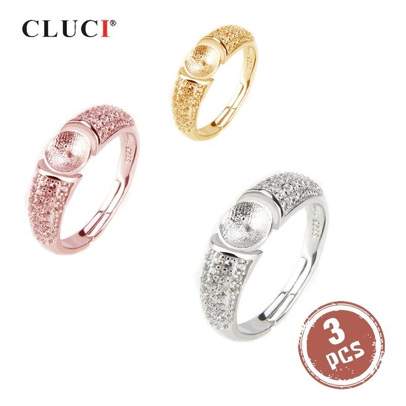 Cluci 3 pçs 925 prata esterlina pérola anel de montagem para mulheres anel fino jóias prata 925 ajustável zircão feminino anéis sr2008sb