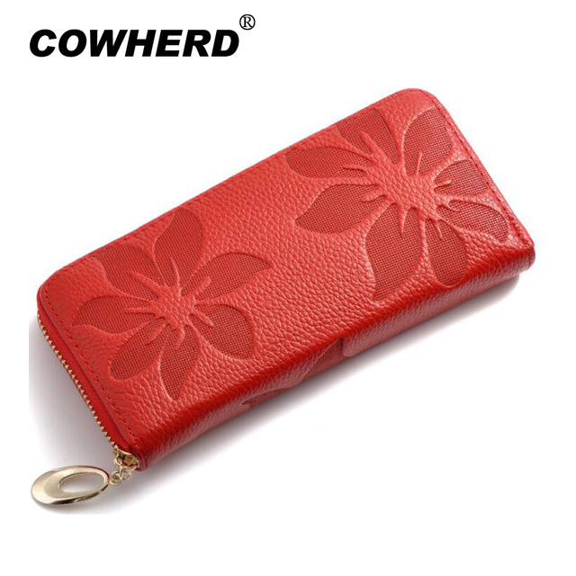 Women RFID Wallets Fashion Flowers Embossing Genuine Leather Women Clutch Wallets Lady Money Bag Coin Purse Top Layer Cowskin
