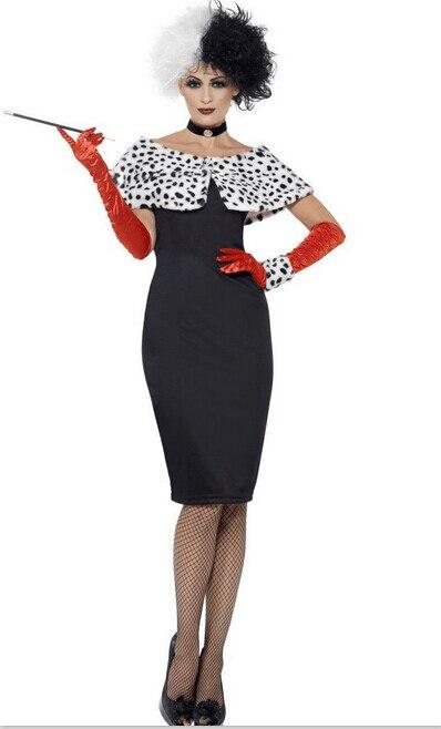 Evil Madame Cruella De Ville Costume Ladies Womens Fancy Dress Outfit