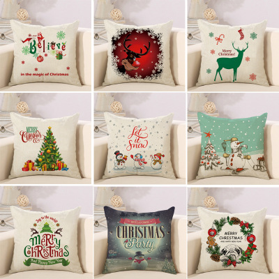 Pillow Cases Home Decor Merry Christmas Decorations Christmas Present Let it Snow Snowman Deer Cushion Cover for Home Cojines