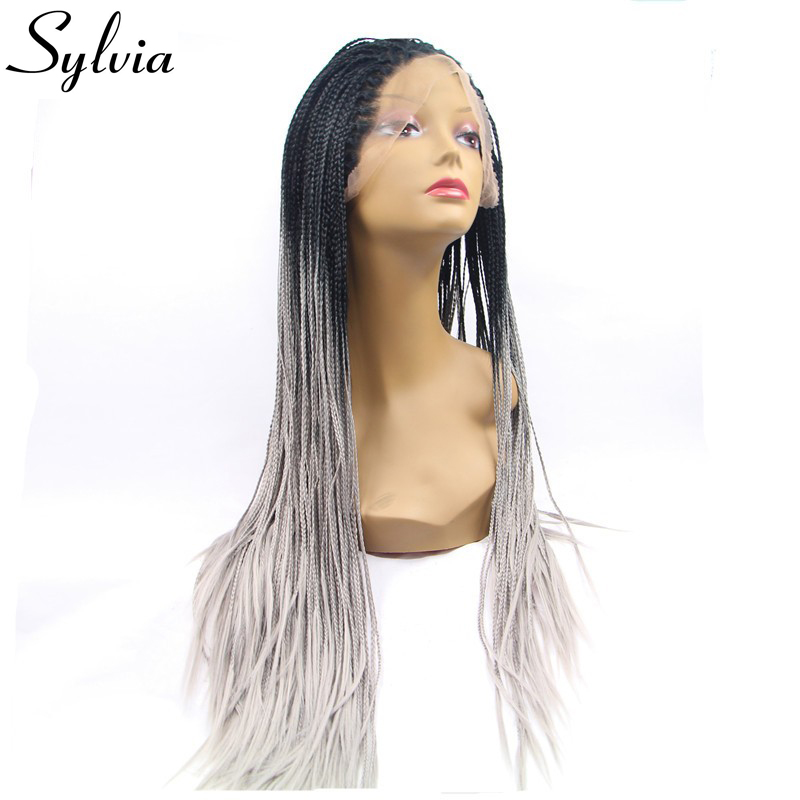 Sylvia T1b/grey micro braiding synthetic lace front wigs grey ombre braided box braids heat resistant fiber hair for black woman