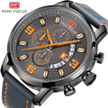 Модные спортивные часы MINI FOCUS  мужские наручные часы  Роскошные Кварцевые часы с кожаным ремешком  водонепроницаемые