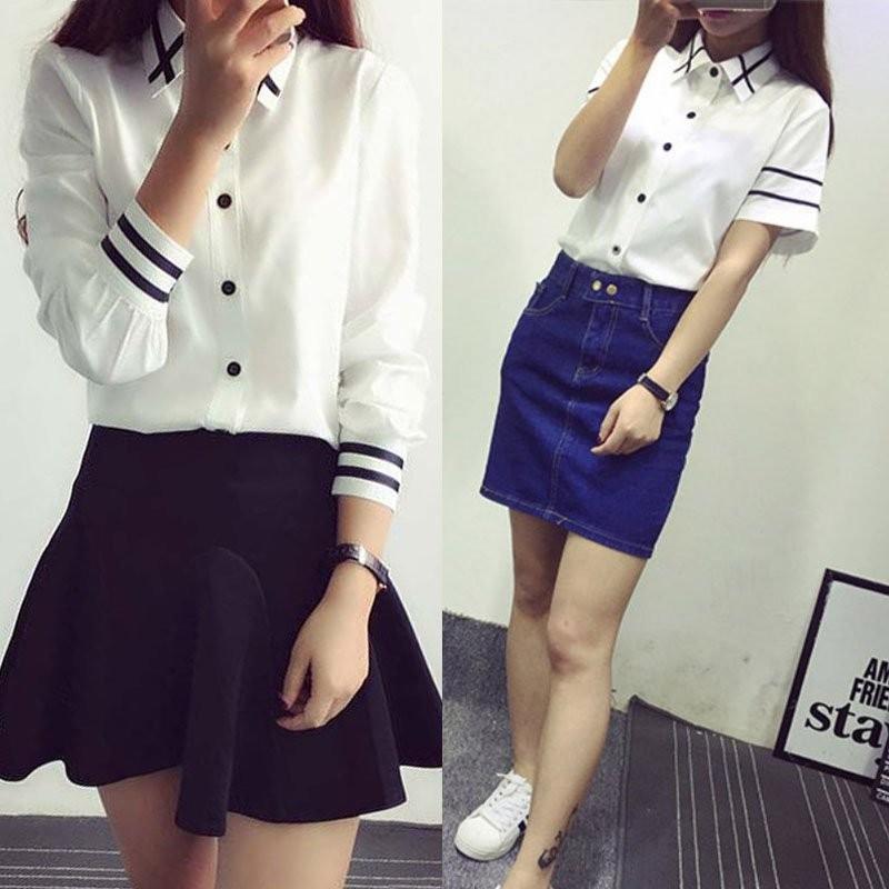 HTB1qHdBNXXXXXX8XVXXq6xXFXXXB - Fashion Ladies Office Shirt White Blue Tops Formal