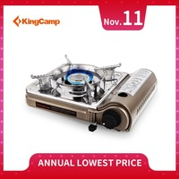 KingCamp Mini Portable Camping Gas Stove Stainless Steel Frame Durable Cooking Wind Shield Outdoor Picnic BBQ Cooker