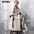 2017 Hot sell Quality Sheepskin shearing fur overcoat medium-long wool Coat genuine Leather double-faced full pelt women coat