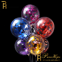 12 10pcs Confetti Balloon Gold Latex Balloons Party Decorations Wedding Birthday Children Helium Transparent