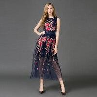 Haute qualité 2016 nouvelles femmes d'été de piste maxi dress bleu net tissu brodé longue dress