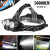 50000LM 5x XM L T6 LED 2 18650 6Modes Rechargeable USB Headlamp Head Light Zoomable Super