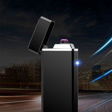 Metal Windproof Electronic Lighter Double Arc Usb Charging Electric Plasma Pulse