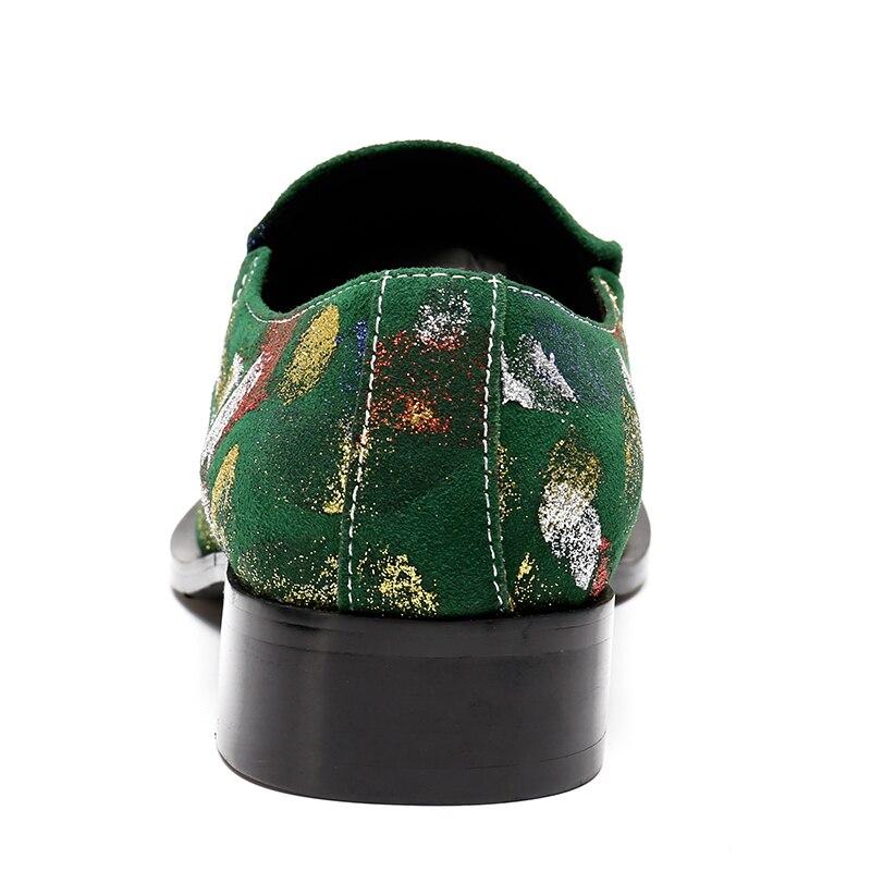 Dos Sapato Apartamentos Pé Do Preto De Vestido Couro Luxo Dedo Verde Cópia Sapatos Escritório Formal Metal Sapatas Ponto Homens Pontiagudo Casamento 1wAA6R0qz