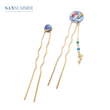 New Hot Fashion Ocean Wind Pendant Japan Personality And Korea Style Exquisite U-type Hairwear Hairpin For Women Jewelry