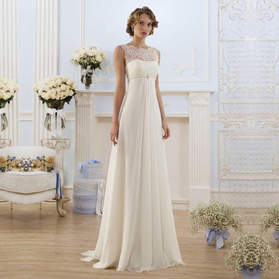 Elegant bridal pregnant gowns cheap chiffon empire waist for Empire waist plus size wedding dress