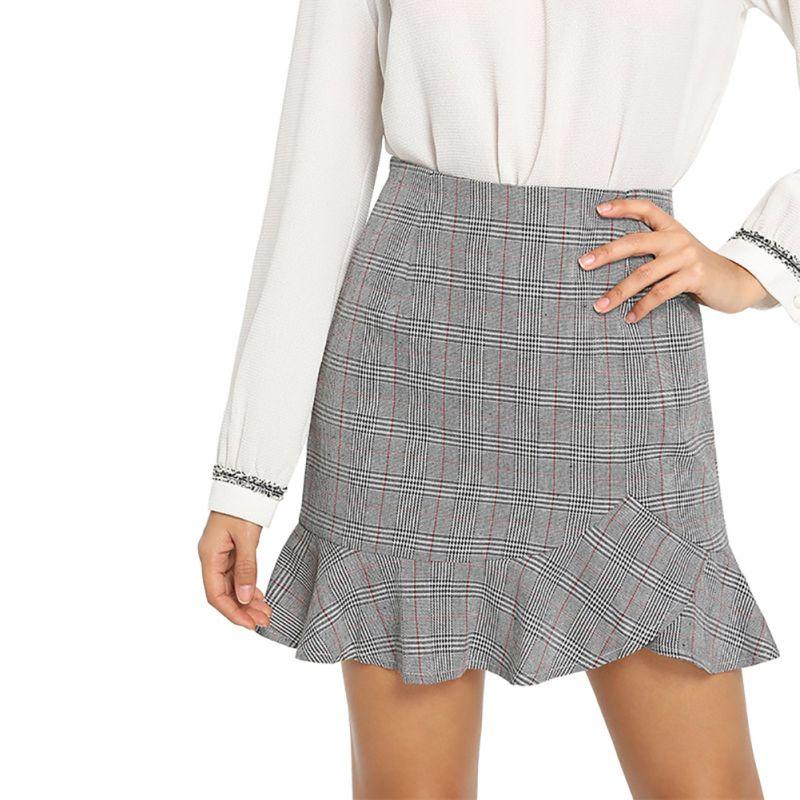 Fashion Plaid Ruffles Sexy Women Skirts Spring Summer Women Bottoms Regular Outwear