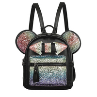 New Shiny Sequins Backpack Cute Mouse Ears Bag Women Mini Backpack PU Leather Backpack Children Shoulder