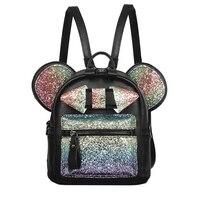 New Shiny Sequins Backpack Cute Mouse Ears Bag Women Mini Backpack PU Leather Backpack Children Shoulder