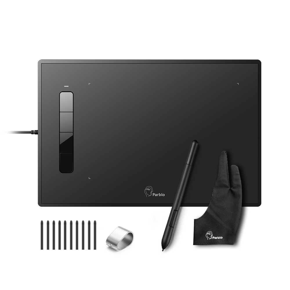 Parblo Island A609 Grafisk Tablet 2048 Nivåer Trykk Batterifri Pen Tegning Tablet + To-Finger Glove + Replacement Nibs Kit