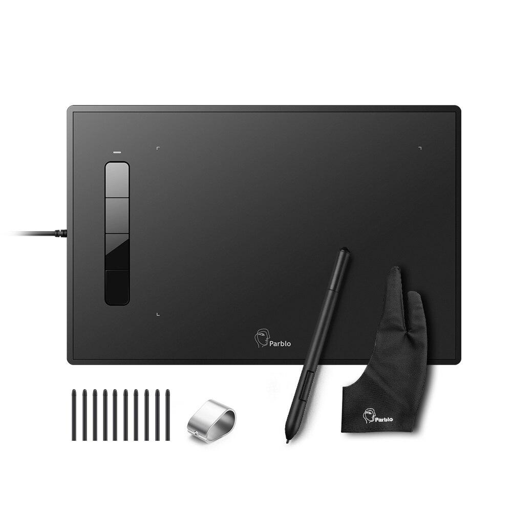 Tablette graphique Parblo Island A609 2048 niveaux de pression tablette de dessin stylo sans batterie + gant à deux doigts + Kit de plumes de remplacement