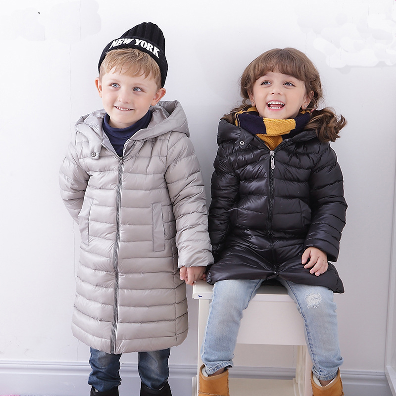 ФОТО winter down Jackets Children Coats warm baby 100% thick duck Down Outerwear Long Sections Warm Coat Clothing Boys Hooded