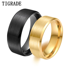 Tigrade 8mm Black Man Rings Simple Design Classic Gold Stainles Steel Men Fashion For Engagement Wedding bague homme
